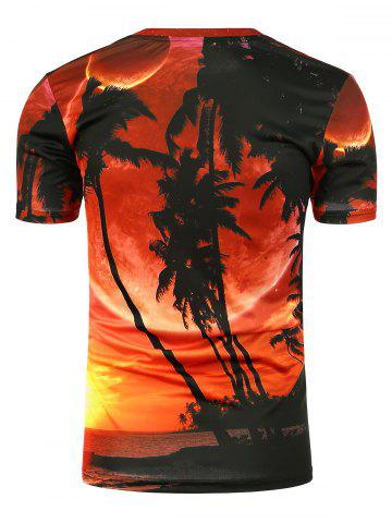 Cheap 3D Coconut Trees Printed Short Sleeves Tee - XL DARKSALMON Mobile