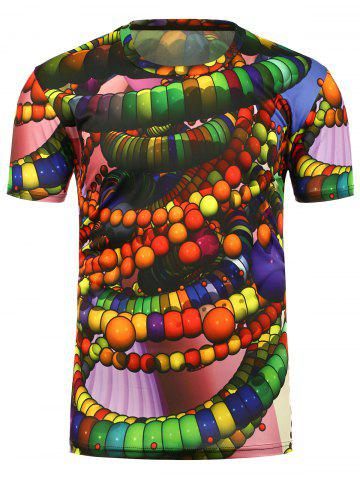 New 3D Beads Printed Crew Neck T-Shirt - S COLORMIX Mobile