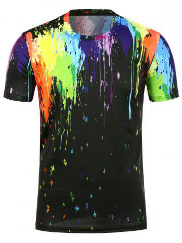 3D Paint Splatter Crew Neck T-Shirt - Black - S