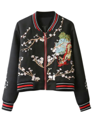 Flower Embroidered Striped Bomber Jacket -