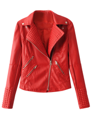 Lapel Collar Zippered Biker Jacket -
