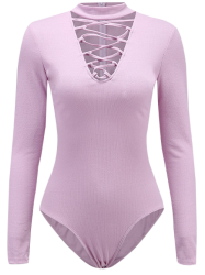 Long Sleeve Choker Collar Lace Up Bodysuit - LIGHT PURPLE