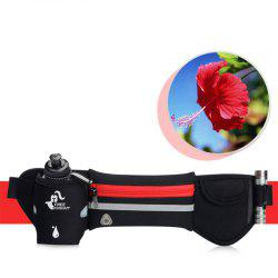 Freeknight Headphone Jack Reflective Waist Bag with One Water Bottle - RED