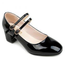 Double Buckle Straps Patent Leather Pumps - BLACK