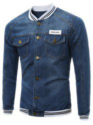Stripe Panel Buttoned Pocket Denim Jacket