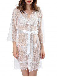 Lace See-Through Babydolls With Belt