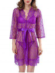 Lace See-Through Babydolls With Belt - PURPLE