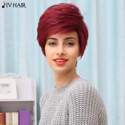 Siv Hair Side Bang Short Layered Straight Human Hair Wig