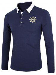 Contrast Collar Embroidery Polo Shirt