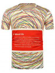 3D Colorful Lines Printed Short Sleeves T-Shirt