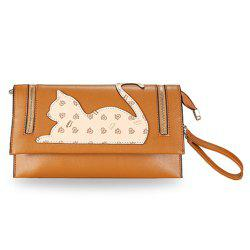 Zip Detail Cat Patch Clutch Bag - LIGHT BROWN