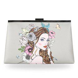 Clip Portrait Print Clutch Bag - GRAY