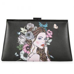 Clip Portrait Print Clutch Bag