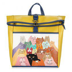 Funny Cat Painted Backpack - YELLOW