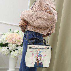 Chains Detail Portrait Print Handbag