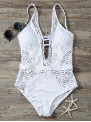 Cutout Backless Lace One Piece Swimwear - WHITE