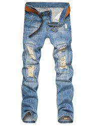 Slim Fit Destroyed and Repair Straight Leg Jeans