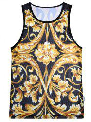 Floral Printed Sports Tank Top - YELLOW AND BLACK