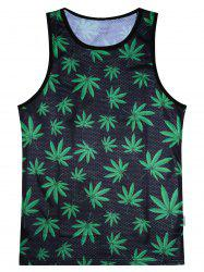 Leaf Print Breathe Mesh Tank Top - BLACK AND GREEN