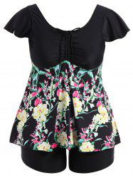 Plus Size Ruched Padded Floral Skirted Swimsuit