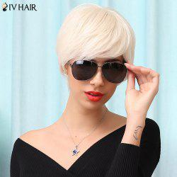 Siv Hair Manly Short Neat Bang Straight Human Hair Wig