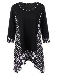 Plus Size Floral and Polka Dot T-Shirt