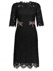 Rhinestone Scalloped Lace Knee Length Cocktail Dress - BLACK
