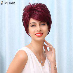 Siv Side Bang Spiffy Short Fluffy Straight Human Hair Wig