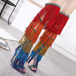High Heel Fringe Gladiator Sandals