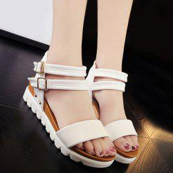 Double Buckle Strap Faux Leather Sandals - WHITE