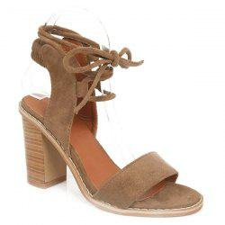 Tie Up Suede Sandals - CAMEL