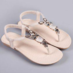 Elastic Band Faux Leather Sandals - COMPLEXION