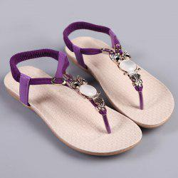 Elastic Band Faux Leather Sandals - PURPLE