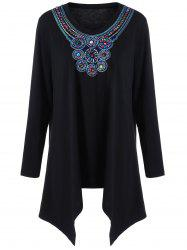 Plus Size Embroidery Asymmetrical T-Shirt