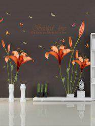 Vinly Flower Love Quote Removable Wall Stickers