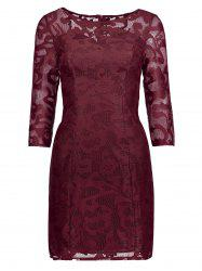 Lace See Thru Short Cocktail Dress with Sleeves - WINE RED