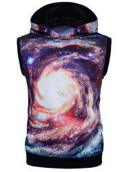 3D Galaxy Print Sleeveless Trippy Hoodie