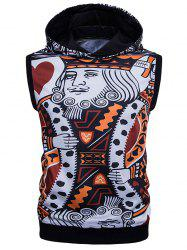 3D Poker Print Sleeveless Hoodie - COLORMIX