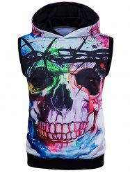 Splatter Paint 3D Skull Print Trippy Sleeveless Hoodies