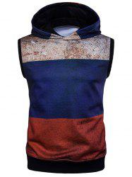 Rust Design Color Block Sleeveless Hoodie