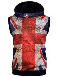 Union Jack Print Rust Design Sleeveless Hoodie