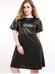 Faux Leather Insert Plus Size Flapper Dress