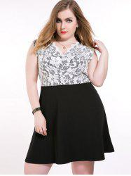 Lace Panel A Line Plus Size Dress