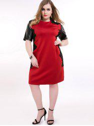 Faux Leather Trim Panel Plus Size Dress
