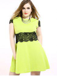 Lace Trim A Line Plus Size Dress