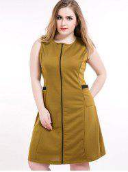 Front Zip Sleeveless Plus Size Dress