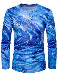 Crew Neck 3D Ombre Rock Tie Dye Trippy T-Shirt