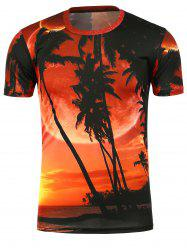 3D Coconut Trees Printed Short Sleeves Tee - DARKSALMON