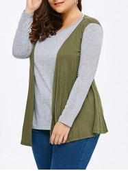 Plus Size Long Sleeve Color Block T-Shirt