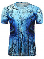 3D Forest Eyes Printed Crew Neck T-Shirt - BLUE